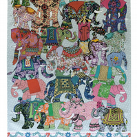 Tea towel - elephant design we call Elephant Parade - Cotton kitchen towel