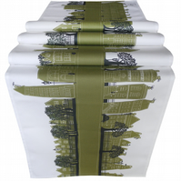 Green Table Runner with contemporary design of printed of street scene