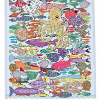 Tea towel - Fish kitchen towel - We call 'Something fishy' - Cotton Tea towel