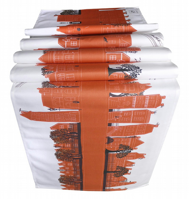 Table Runner with beautiful street design in burnt orange. Printed Cotton drill
