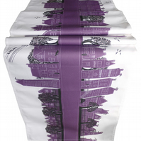 Purple Table Runner with contemporary design of printed of street scene. Printed