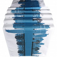 Turquoise Table Runner with contemporary design of printed of street scene.