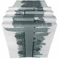 Grey Table Runner with contemporary design of printed of street scene, printed