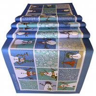 Christmas Table Runner, Winter snowman stylish table decoration