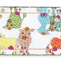 Blooming Lovely Cow Table Runner, printed cotton drill for wonderful tables