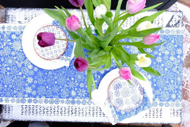 Christmas table runner, blue snow, printed festive home ware, stylish design