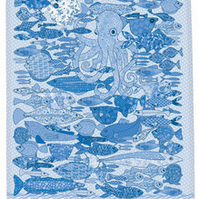 Tea towel - fish design. Cotton kitchen towel - We call it Something Fishy blue