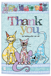 Thank you for looking after my cat tea towel - cotton kitchen towel