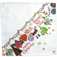 Cotton Napkins - Christmas Ornaments, Each pack is a set of two.
