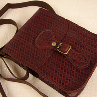 Oxblood Basketweave Leather Satchel