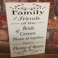 A4 Size Family & Friends Of the Bride And Groom Seating Wedding Sign