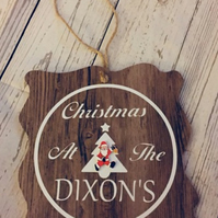 Wooden Christmas Family Welcome Sign Plaque