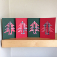 Pack of four Tartan patterned Christmas cards