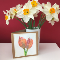 Typography tulip greetings card