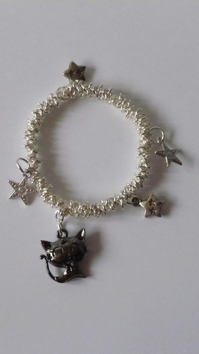 Cat and Star Charms - Elastic Bracelet
