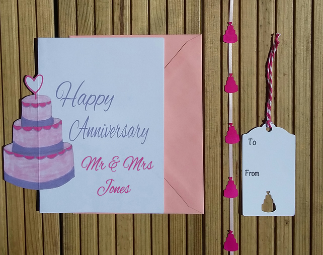 Anniversary Card & Tag, Personalised Card & Tag, Gift Wrap Set