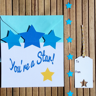 Congratulations Card & Tag, You're A Star Card & Tag, Gift Wrap Set