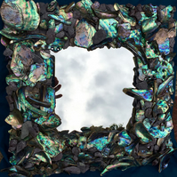 stunning hand decorated vibrant abalone  Paua shell square  and slate mirror