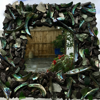 stunning hand decorated vibrant abalone  Paua shell and slate sea glass mirror