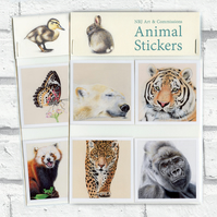 Pack of 4 Glossy Vinyl Animal Stickers