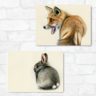 A3 Red Fox & Wild Rabbit Bundle