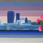 London Skyline Riverview acrylic painting