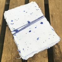 10 Sheets of A5 Recycled Handmade Paper Blue