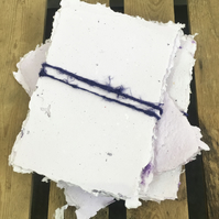 10 Sheets of A5 Recycled Handmade Paper Lilac