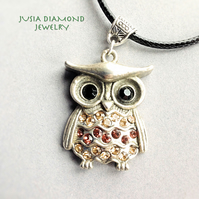 Owl Necklace Bird Retro Necklace Black Cord Silver Plated Pendant Forest Gift