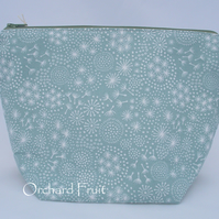 Duck-egg blue seedheads and stars - waterproof zipped pouch
