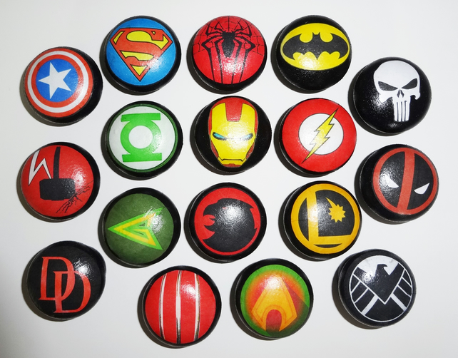 SUPER HERO SYMBOLS DECOUPAGED WOODEN KNOBS Gre