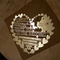 personalised 'heart' wedding invitation