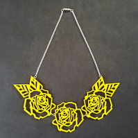 'geometric roses' necklace (yellow)
