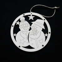 'mr and mrs snowman' christmas tree decoration