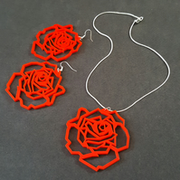 'geometric rose' jewellery set (red)