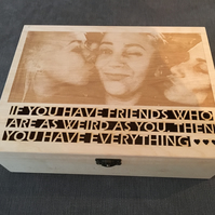 bespoke jewellery box with photo engraved on the cover