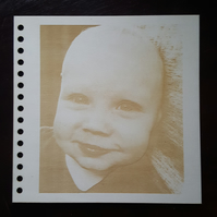 bespoke notebook with a photo engraved on the cover