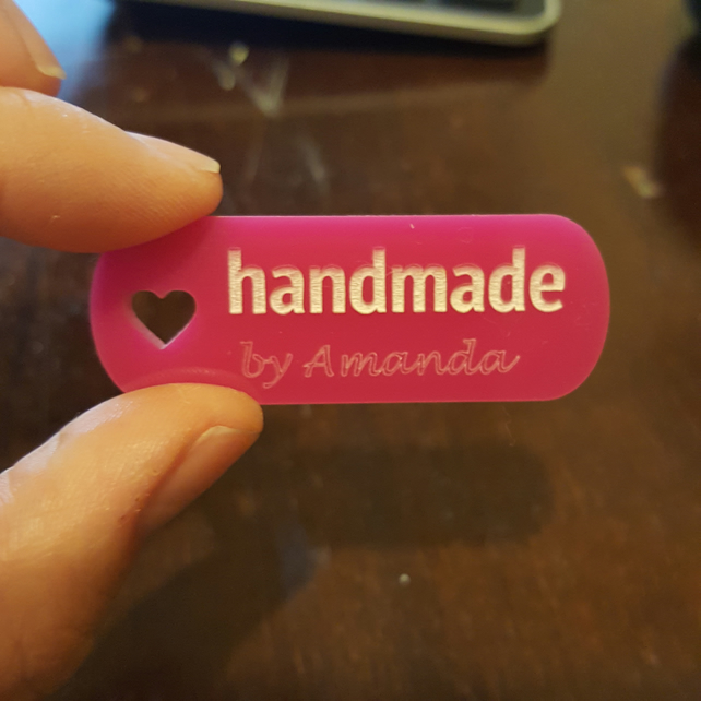 handmade by tags - set of 10