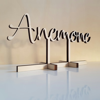 wedding table names, wedding table centrepieces - natural wood