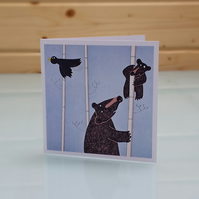 Mother and Baby Bear - Blank Inside Black Bear Greeting Card