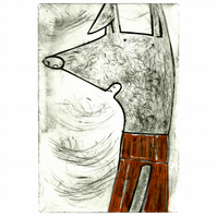 'Which Jumper Today' Whippet Greyhound Dog Drypoint Etching Print