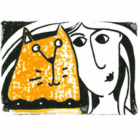 Marmalady - original ginger Tom cat print, ginger cat and lady etching