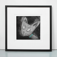 I Am Siamese - original limited edition Siamese cat art etching print