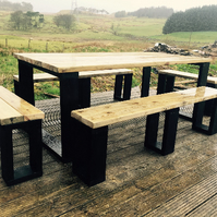 Large Garden Table with 4 Benches