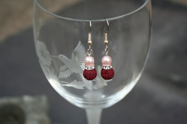 Lava bead and crystal earrings