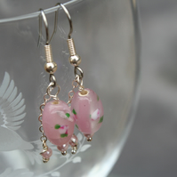 Pretty pink glass and pearl earrings