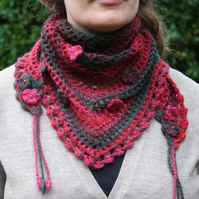 Cosy Red And Green Crochet Triangle Scarf