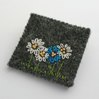 Blue and White Daisy Embroidered Brooch
