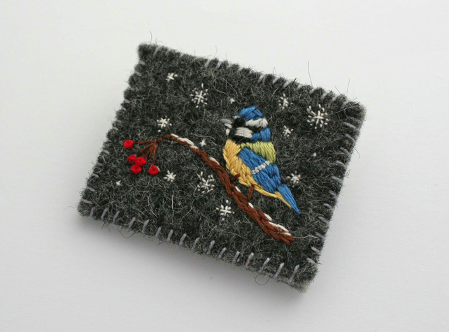 Blue Tit in the Snow Brooch