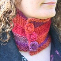 Wool Neckwarmer Cowl In Tropical Colours with Crochet Rose Buttons, Small